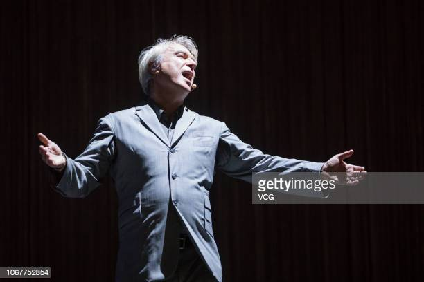 ScottishAmerican singer David Byrne of American band Talking Heads performs onstage during 2018 Clockenflap Music and Arts Festival on November 10...