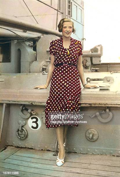 Scottishborn silent film actress and model Ella Atherton on the deck of a passenger ship 1933 Atherton later married Maharajah Vijayasinhji of...