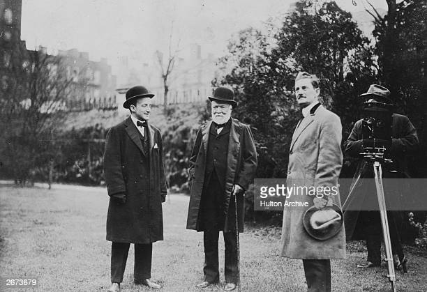 Scottishborn US industrialist and philanthropist Andrew Carnegie during the making of a film in the grounds of his home