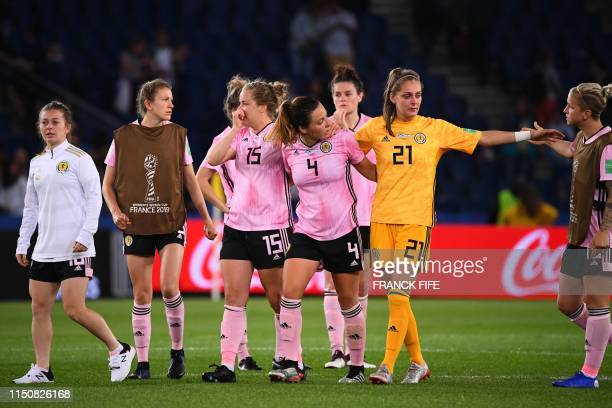 Scottland's players react at the end of the France 2019 Women's World Cup Group D football match between Scotland and Argentina on June 19 at the...