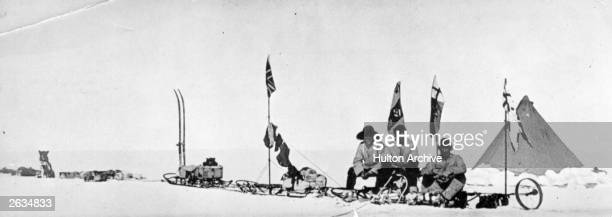 Scott's sledge party which reached the furthest southern latitude on his national Antarctic expedition celebrating Christmas Lieutenant Ernest...