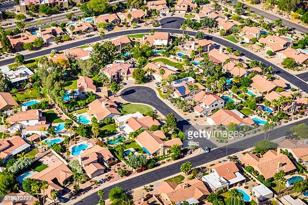 scottsdale phoenix arizona suburban housing development neighborhood - aerial view - phoenix arizona stock pictures, royalty-free photos & images