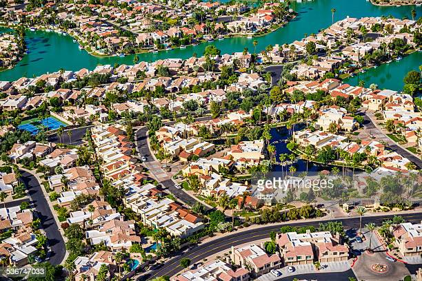 Scottsdale Phoenix Arizona suburban housing development neighborhood - aerial view