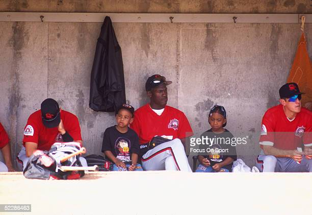 Scottsdale Scorpions' Michael Jordan sits on the bench in the visitors' dugout at Compadre Stadium in 1994 in Scottsdale Arizona
