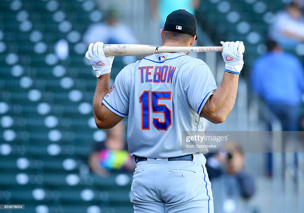 Scottsdale Scorpions Outfielder Tim Tebow (15) (NYM) warms up before a game between the Scottsdale Scorpions and the Mesa Solar Sox on November. 17, 2016 at Sloan Park in Mesa, Arizona.
