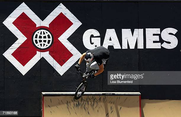 Scotty Cranmer competes in the Men's BMX Freestyle Park Final during the ESPN X Games on August 5 2006 at the Home Depot Center in Carson California...