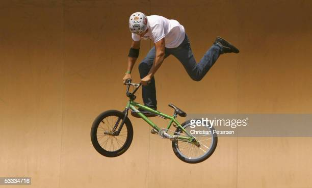 Scotty Cranmer performs during the BMX freestyle finals at the ESPN X Games 11 on August 6 2005 at Home Depot Center in Carson California