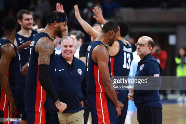 Scotty Hopson and Eric Moreland of USA celebrate after winning a match between Uruguay and USA as part of Group E of FIBA Americas Qualifiers for...