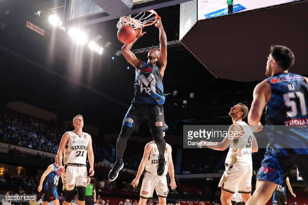 Scotty Hopson of Melbourne United dunks during the round 21 NBL match between Melbourne United and Adelaide 36ers at Adelaide Entertainment Centre,...