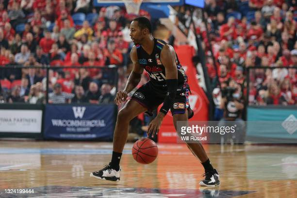 Scotty Hopson of Melbourne United looks to pass the ball during game one of the NBL Grand Final Series between the Perth Wildcats and Melbourne...
