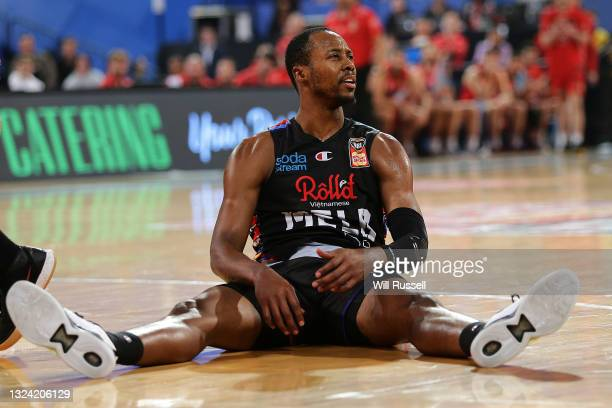 Scotty Hopson of Melbourne United sits on the deck during game one of the NBL Grand Final Series between the Perth Wildcats and Melbourne United at...