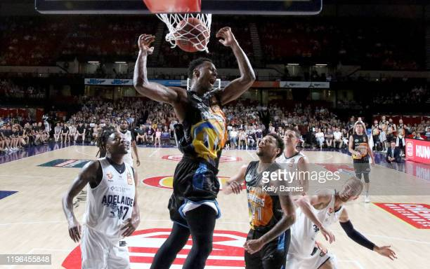Scotty Hopson of the Breakers celebrates a dunk during the round 13 NBL match between the Adelaide 36ers and the New Zealand Breakers at Adelaide...