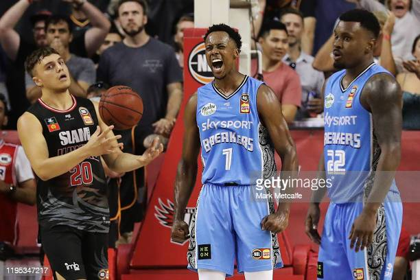 Scotty Hopson of the Breakers celebrates winning the round 12 NBL match between the Illawarra Hawks and the New Zealand Breakers at WIN Entertainment...