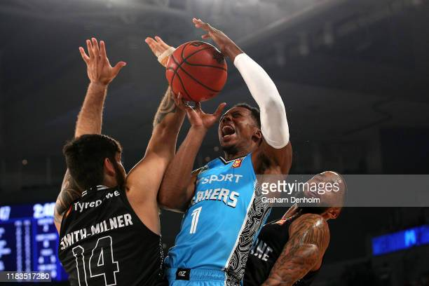 Scotty Hopson of the Breakers drives at the basket during the round four NBL match between Melbourne United and the New Zealand Breakers at Melbourne...