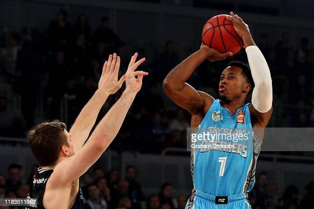 Scotty Hopson of the Breakers shoots during the round four NBL match between Melbourne United and the New Zealand Breakers at Melbourne Arena on...