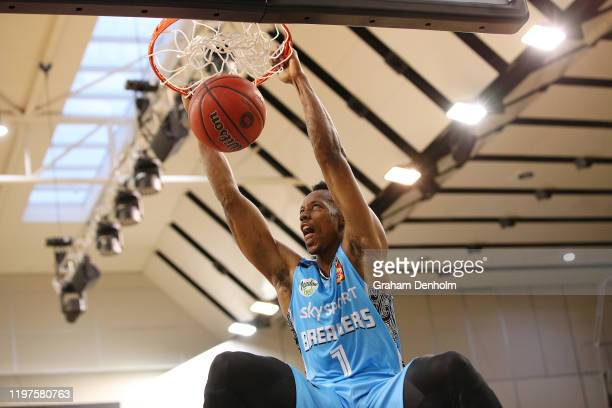 Scotty Hopson of the Breakers slam dunks during the round 14 NBL match between the South East Melbourne Phoenix and the New Zealand Breakers at the...