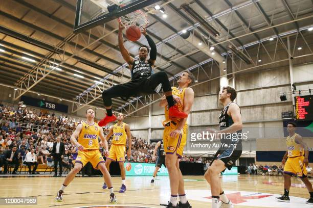 Scotty Hopson of the Breakers with a dunk during the round 16 NBL match between the New Zealand Breakers and the Sydney Kings at TSB Stadium on...
