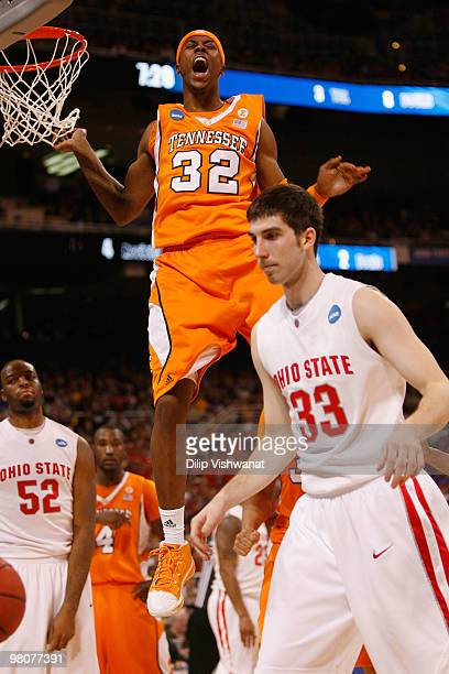 Scotty Hopson of the Tennessee Volunteers celebrates a basket against the Ohio State Buckeyes during the midwest regional semifinal of the 2010 NCAA...