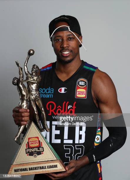 Scotty Hopson of United poses following victory in game three of the NBL Grand Final Series between Melbourne United and the Perth Wildcats at John...