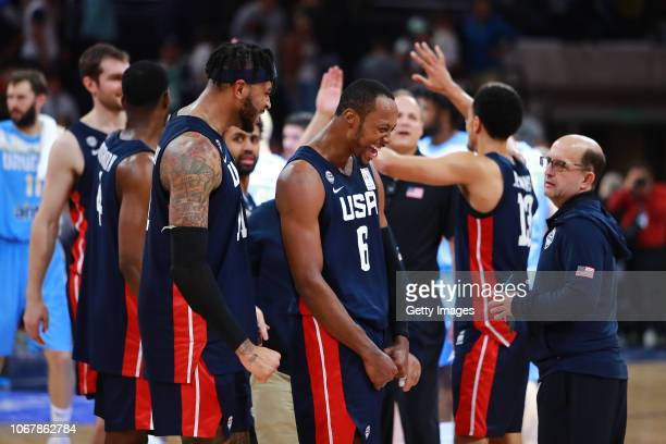 Scotty Hopson of USA celebrate with teammates after winning a match between Uruguay and USA as part of Group E of FIBA Americas Qualifiers for China...