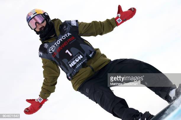 Scotty James of Australia celebrates after his final run while competing in the Men's Snowboard Halfpipe final during the Toyota US Grand Prix on...
