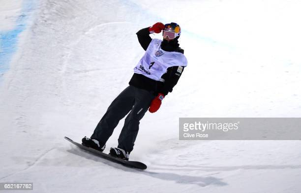 Scotty James of Australia celebrates winning the gold medal during the Men's Snowboard Halfpipe Final on day four of the FIS Freestyle Ski and...