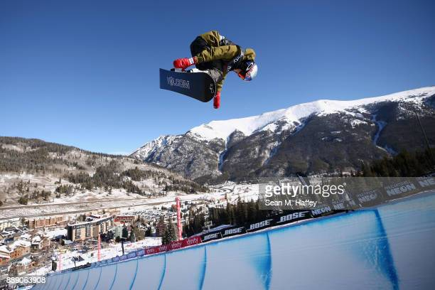 Scotty James of Australia competes in the finals of the FIS Snowboard World Cup 2018 Men's Snowboard Halfpipe during the Toyota US Grand Prix on...