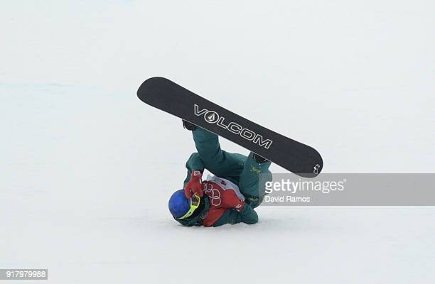 Scotty James of Australia crashes in his third run during the Snowboard Men's Halfpipe Final on day five of the PyeongChang 2018 Winter Olympics at...