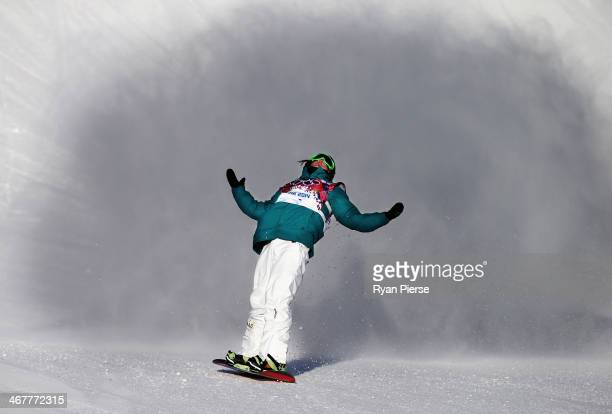 Scotty James of Australia reacts during the Snowboard Men's Slopestyle Semifinals during day 1 of the Sochi 2014 Winter Olympics at Rosa Khutor...