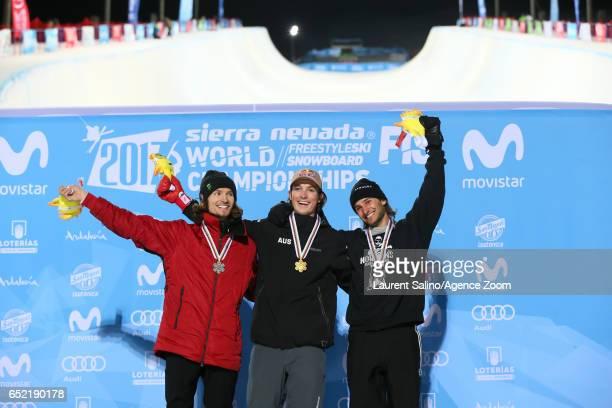 Scotty James of Australia wins the gold medal Iouri Podladtchikov of Switzerland wins the silver medal Patrick Burgener of Switzerland wins the...