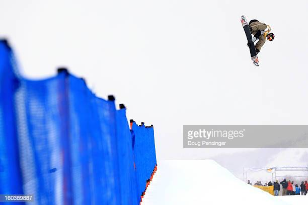 Scotty Lago competes in the semi finals of the FIS Snowboard Halfpipe World Cup at the Sprint US Grand Prix at Park City Mountain on January 30 2013...