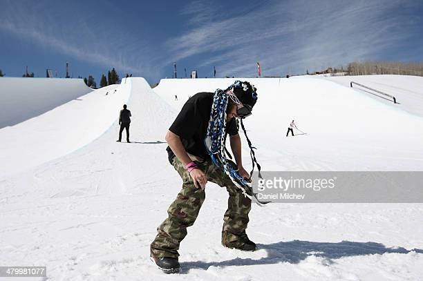 Scotty Lago dances during practice at Red Bull Double Pipe on March 21 2014 in Aspen Colorado