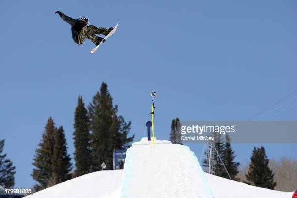 Scotty Lago in action during practice at Red Bull Double Pipe on March 21 2014 in Aspen Colorado
