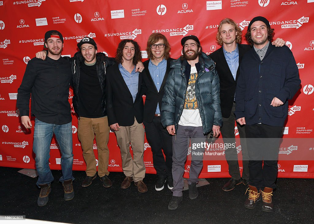 Scotty Lago, Jack Mitrani, Luke Mitrani, Kevin Pearce, Danny Davis, Mikkel Bang and Mason Aguirre attend 'The Crash Reel' premiere at The Marc Theatre during the 2013 Sundance Film Festival on January 19, 2013 in Park City, Utah.
