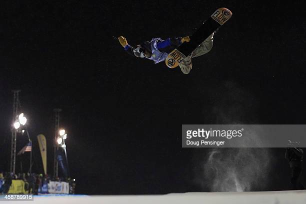 Scotty Lago rides to 10th place in the men's FIS Snowboard Halfpipe World Cup at the US Snowboarding and Freeskiing Grand Prix on December 21 2013 in...