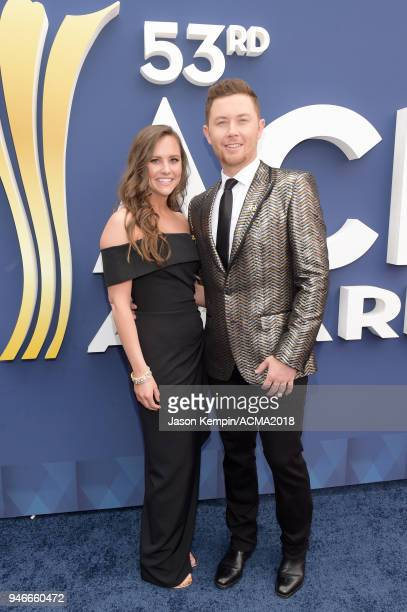 Scotty McCreery and Gabi Dugal attend the 53rd Academy of Country Music Awards at MGM Grand Garden Arena on April 15 2018 in Las Vegas Nevada