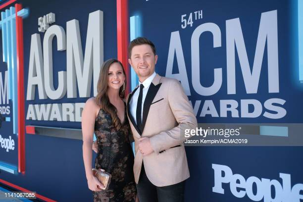 Scotty McCreery and his wife Gabi Dugal attend the 54th Academy Of Country Music Awards at MGM Grand Hotel Casino on April 07 2019 in Las Vegas Nevada
