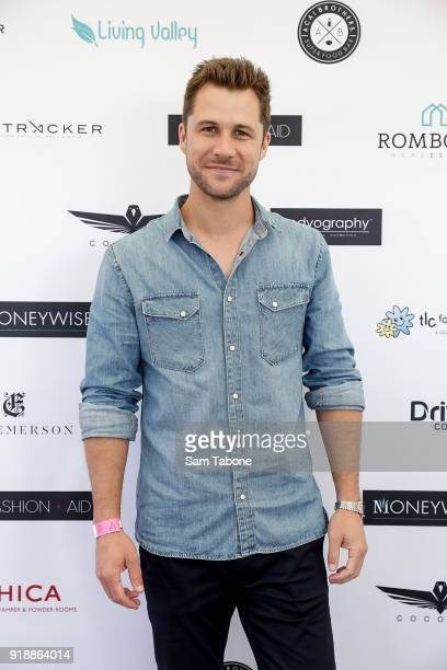 Scotty Mcgregor arrives at the Fashion Aid Twilight Beach Polo on February 16 2018 in Melbourne Australia