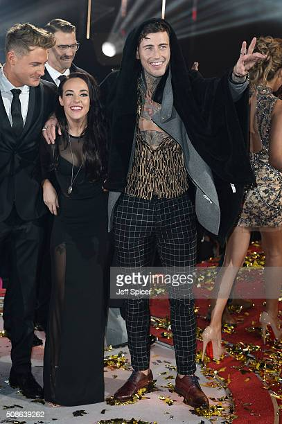 Scotty T John Partridge Stephanie Davis and Jeremy McConnell at the final of Celebrity Big Brother at Elstree Studios on February 5 2016 in...