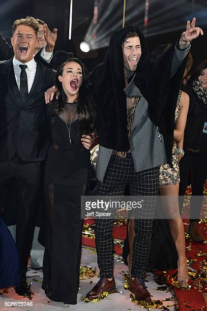 Scotty T Stephanie Davis and Jeremy McConnell at the final of Celebrity Big Brother at Elstree Studios on February 5 2016 in Borehamwood England