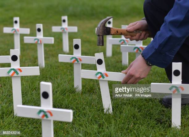 Scout Aaron Crampton plants 50 white crosses as relatives of Irish war dead and campaigners seek to preserve one of the last remaining British Legion...