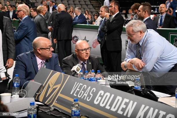 Scout Bob Lowes of the Vegas Golden Knights looks on at the draft table during the first round of the 2018 NHL Draft at American Airlines Center on...