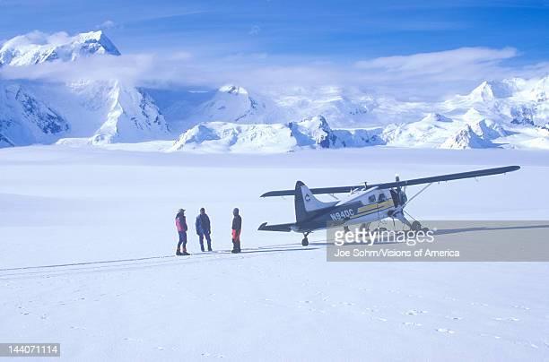 Scout bush airplane on glacier in St Elias National Park and Preserve Wrangell Mountains Wrangell Alaska