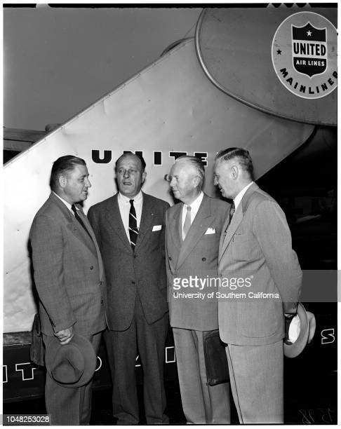 Scout executives fly to meeting, 22 May 1952. Arnold C Sorenson;Charles Fleishman;John Northrop;Judge W Turner Fox;Leonard K Firestone.;Supplementary...