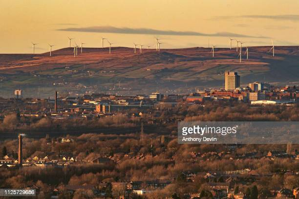 Scout Moor Wind Farm in Ramsbottom is seen above the town of Oldham in Greater Manchester on January 28 2019 in Manchester England
