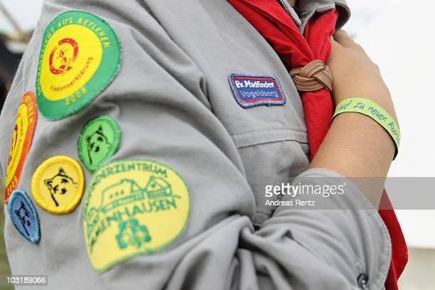 A scout poses for a photograph at the camp on July 31 2010 in Almke near Wolfsburg Germany About 5000 young scouts from Germany Russia Belgium Suisse...