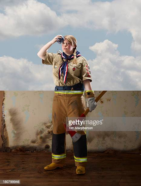 scout top, fireman bottom - uniform stock pictures, royalty-free photos & images
