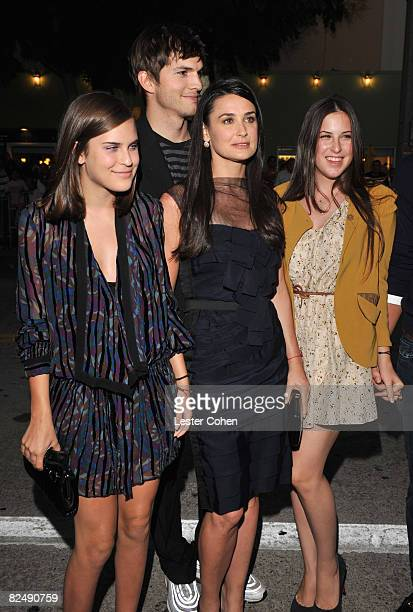 Scout Willis actor Ashton Kutcher Actress Demi Moore and Tallulah Willis arrive on the red carpet of Sony Pictures' premiere of 'House Bunny' at the...