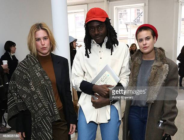 Scout Willis musician Devonte 'Dev' Hynes and Tallulah Willis attend Eckhaus Latta Front Row during MADE Fashion Week Fall 2015 on February 16 2015...