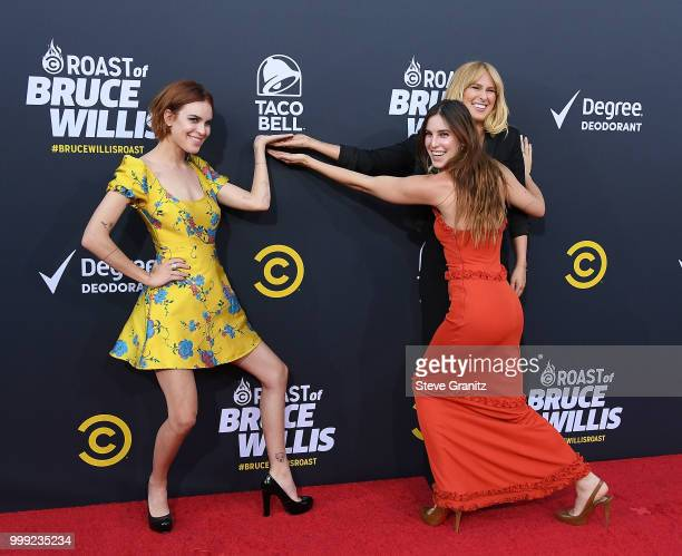 Scout Willis, Rumer Willis, and Tallulah Willis arrives at the Comedy Central Roast Of Bruce Willis on July 14, 2018 in Los Angeles, California.